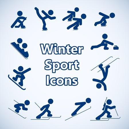 sport invernali: Icone di sport invernali impostare illustrazione vettoriale isolato