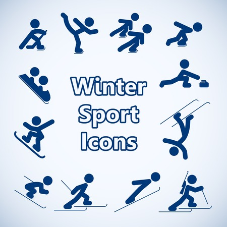 ski track: Winter sports icons set isolated vector illustration