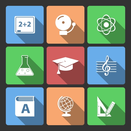 Iconset for educational app for school isolated vector illustration Vector
