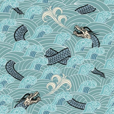 Aziatische naadloos met draak en golven vector illustratie