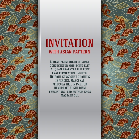 Asian invitation card with dragons and waves vector illustration Vector