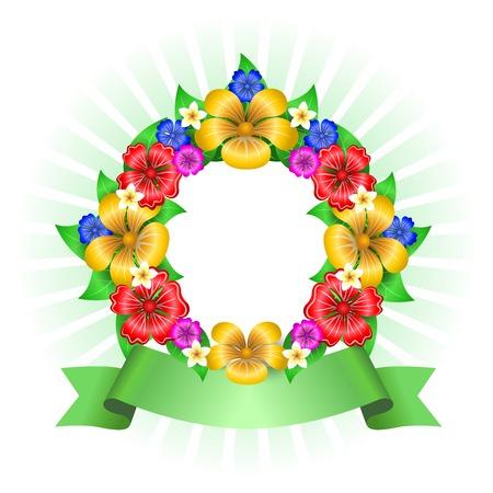 daises: Tropical flowers wreath frame isolated vector illustration
