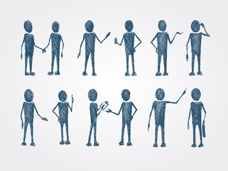 busines: Set of doodle busines people collaboration isolated vector illustration