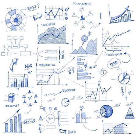 strategie: Infografik Doodle Design-Elemente isoliert Vektor-Illustration