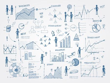 productividad: Conjunto de gesti�n empresarial garabato elementos infogr�ficos aislados ilustraci�n vectorial