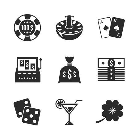 contraste: Conjunto de iconos del casino para el dise�o, el contraste aislado plana ilustraci�n vectorial Vectores