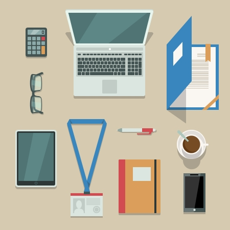 Top view on office workplace with mobile devices and documents isolated vector illustration