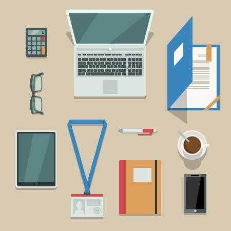gestion documental: Vista superior en el lugar de trabajo de oficina con dispositivos m�viles y documentos aislados ilustraci�n vectorial