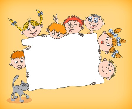 Doodle kids holding blank sign vector illustration Vector