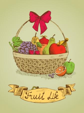 gift basket: Fruit life gift basket with bow emblem vector illustration