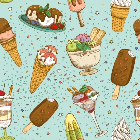 Icecream seamless background pattern vector illustration Vector