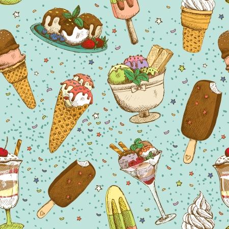 Icecream seamless background pattern vector illustration