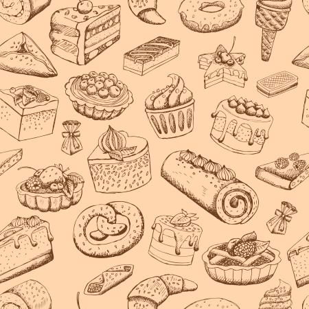 Naadloze zoete gebakjes vector illustratie achtergrond