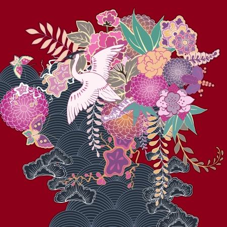 Vintage kimono floral motif vector illustration Vector