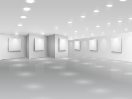 interior spaces: Realistic gallery hall with blank white canvases vector illustration