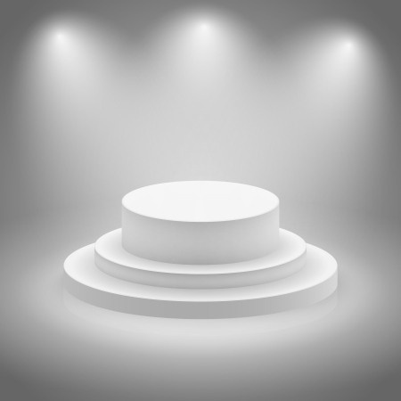 White empty illuminated stage vector illustration Vector