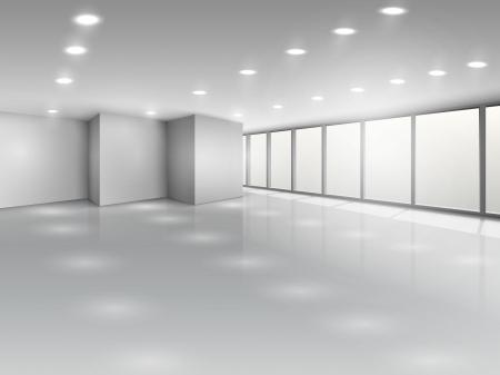 Sala de conferencias de luz o de oficinas abiertas interior del espacio con la ilustración vectorial ventanas