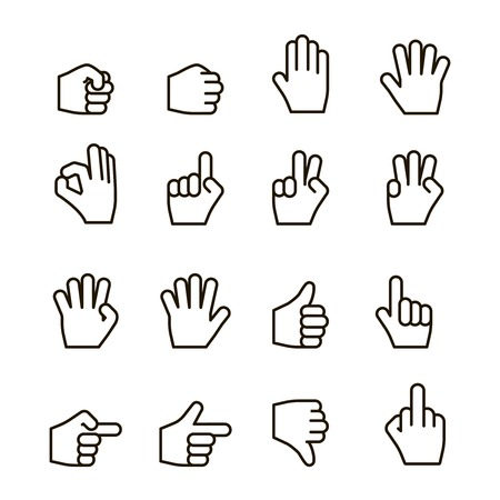 the contour: Hand gestures iconset, contour flat isolated vector illustration Illustration