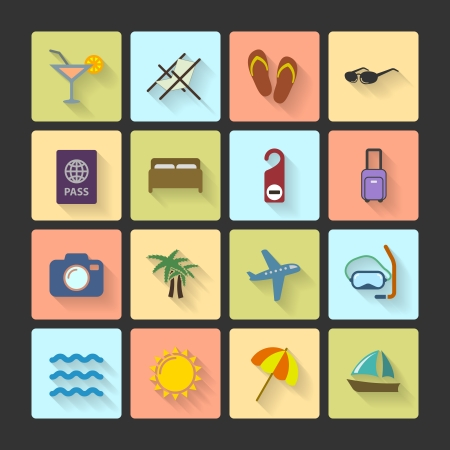 Vacation UI layout icons, squared with long shadows isolated vector illustration Vector