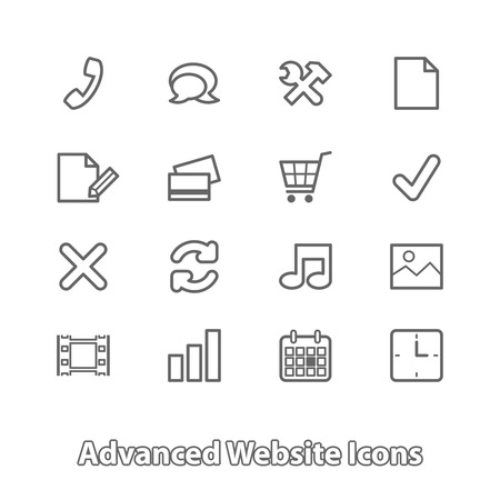 Set of website icons for online shopping, contour flat isolated vector illustration Vector
