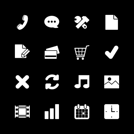 Online shopping icons set, contrast white on black silhouettes isolated vector illustration Vector
