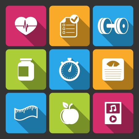 sports app: Healthy lifestyle iconset for fitness app isolated vector illustration Illustration