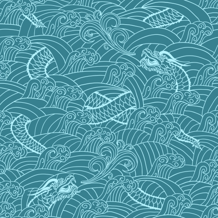 etching pattern: Asian pattern with dragon background vector illustration
