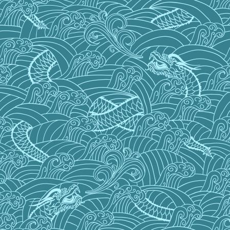 pattern monster: Modello asiatico con drago illustrazione vettoriale sfondo Vettoriali