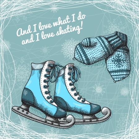 the mittens: Skate y la ilustraci�n mitones de lana de punto del cartel de vectores