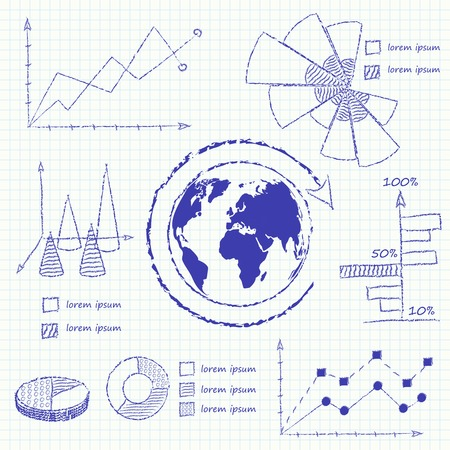 Collection of infographic charts isolated vector illustration Vector