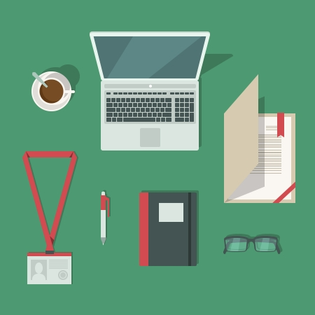 Top view on classic office workplace desk isolated vector illustration Vector