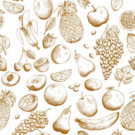 pomegranate juice: Hand drawn fruits seamless pattern illustration
