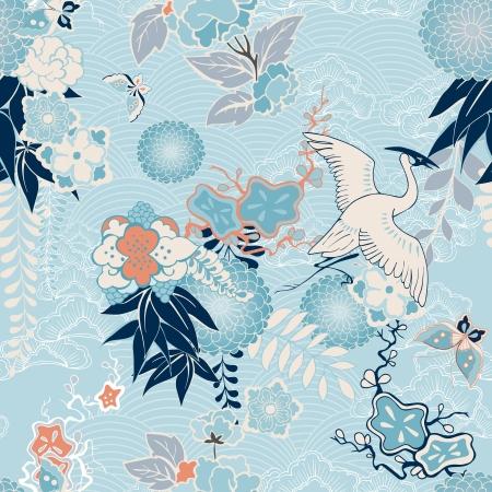 dekorativa mönster: kran och blommor illustration
