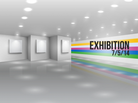 photo gallery: Exhibition announcement advertising invitation with blank canvases illustration