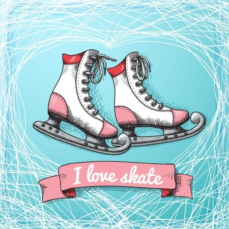 ice rink: Love skate card theme illustration Illustration