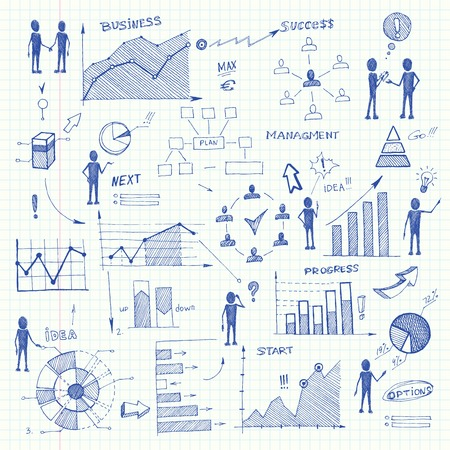 Set of doodle business charts infographics elements isolated illustration