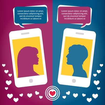 internet dating: Couple virtual love talking using mobile phone messages sms mms vector illustration