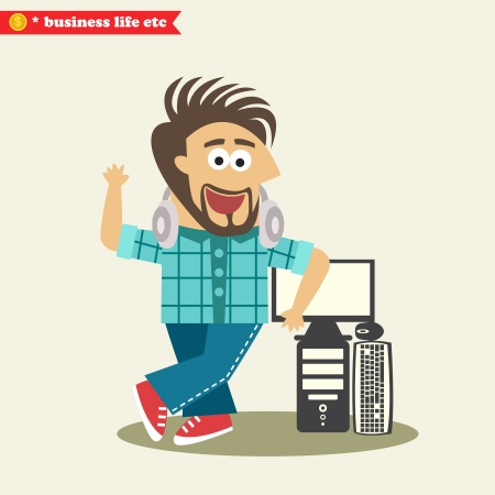 Business life. Software engineer wearing headphones and his computer with display vector illustration Çizim