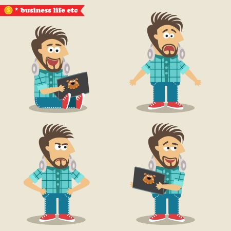 shocked: Business life. Young IT geek emotions in poses, standing set vector illustration