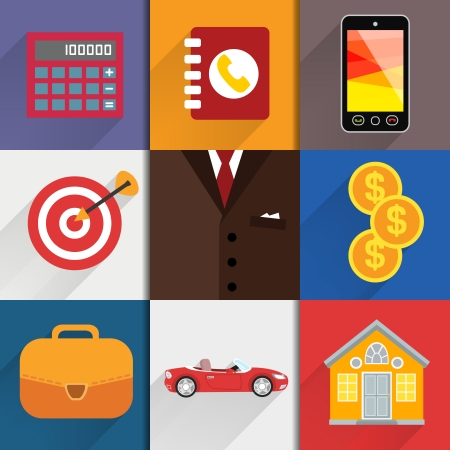 calc: Business suits. Web design elements with accounting icons of calc money case and goal vector illustration