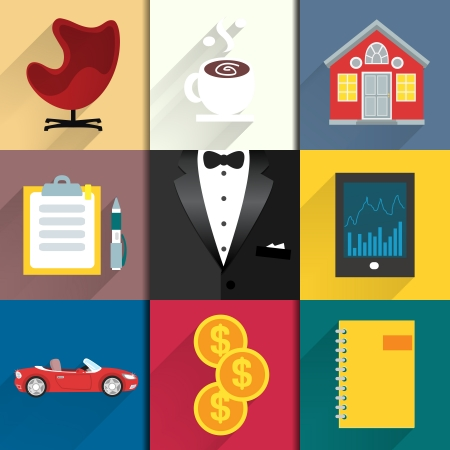 Business suits. Icons set for luxury life with tuxedo car coffee and money vector illustration Vector