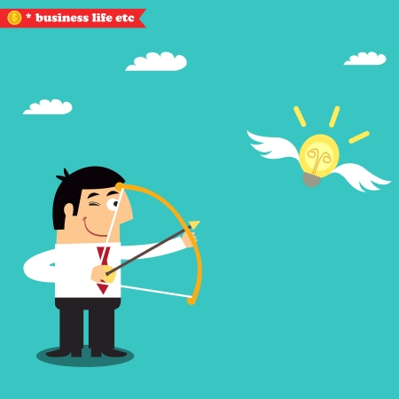 Business life. Manager targets lightbulb to get a business idea vector illustration Stock Vector - 24866976
