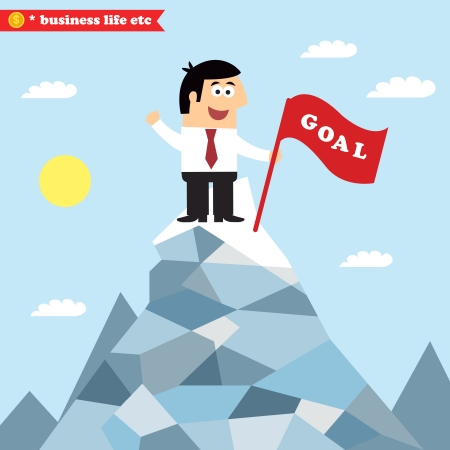 achieve goal: Business life. An idea of goal achievement, victory or successful growth vector illustration Illustration