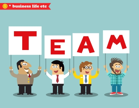 personnel: Business life. Office personnel holding team sign vector illustration