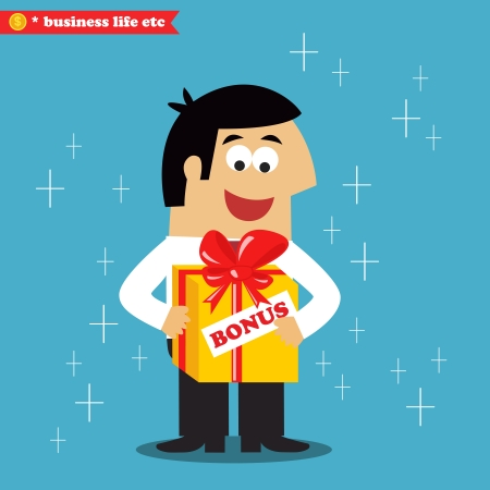 present box: Business life. Adult employee got his annual salary bonus prize in gift present box vector illustration