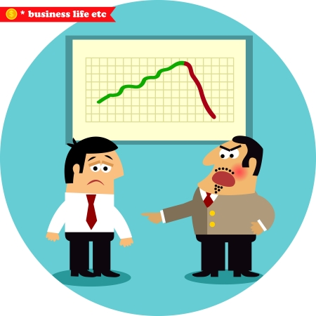 서사시: 비즈니스 라이프. 화가 보스 서사시가 자신의 목표 벡터 일러스트 레이 션을 실패 관리자를 비난