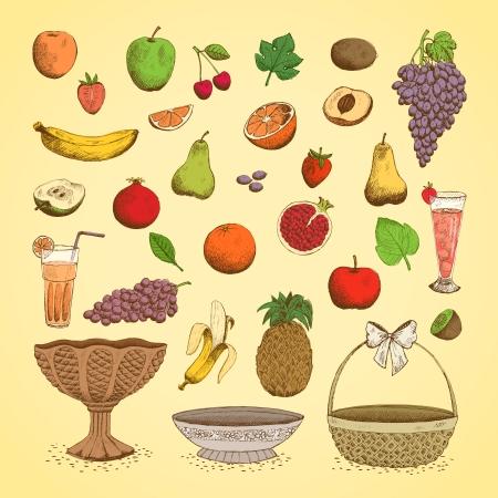 platter: Set of juicy fresh fruits, orange, grape, apple, strawberry, cherry and others vector illustration