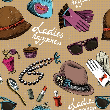 Ladies happiness background. Women pattern with gloves glasses hat perfume and other accessory vector illustration Vector