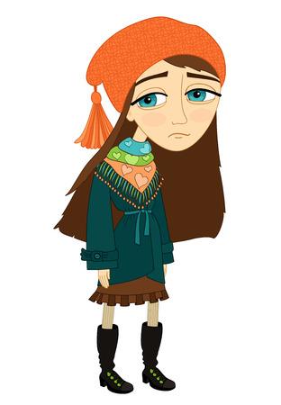 alone and sad: Muchacha triste de pie solo y sin sonre�r aislado plantilla de ilustraci�n vectorial