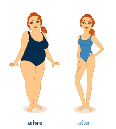weight loss success: Fat and slim woman figures, before and after weight loss isolated vector illustration